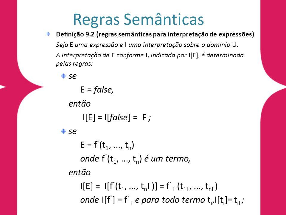 Regras Semânticas se E = false, então I[E] = I[false] = F ;